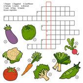 Palavras cruzadas de vetor, jogo para crianças sobre legumes — Vetor de Stock