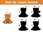 (クマとミツバチの正しい影を見つける) — ストックベクタ