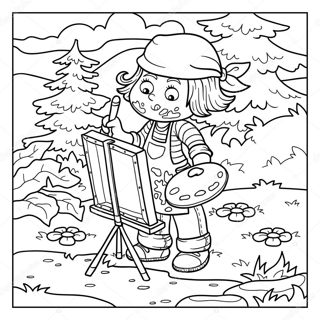 Coloring book for girl - Coloring Book For Children Girl Artist Draws On Nature Open Air Vector By Ksenya_savva