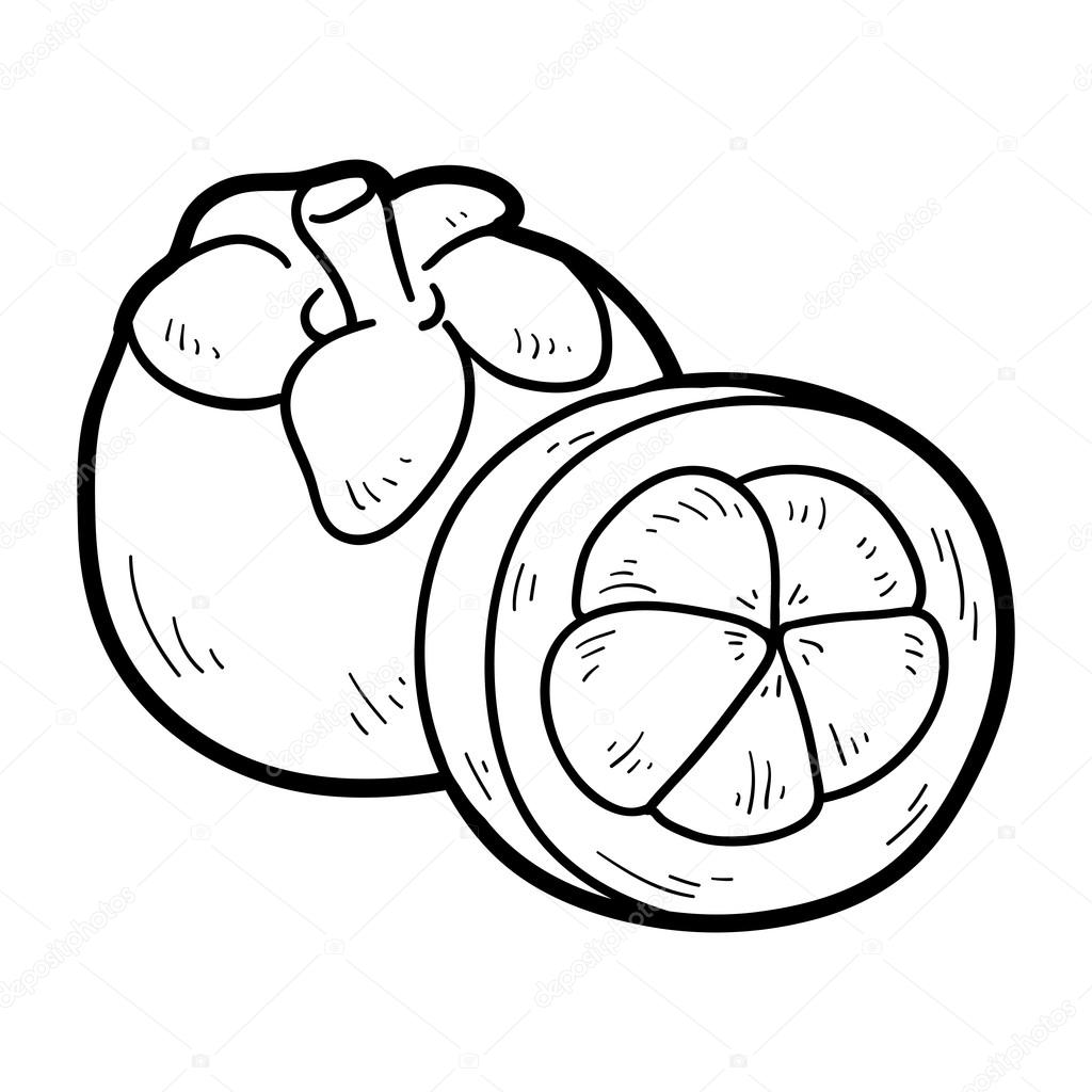 Coloring book: fruits and vegetables (mangosteen) — Stock