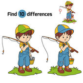 Find differences game (little boy fisher) — Stock Vector