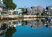 Reflections in Rockport Harbor, MA — Stock fotografie