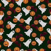 Seamless mönster ghost och pumpa halloween — Stockvektor