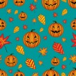Halloween seamless pattern with pumpkins and autumn leaves — ストックベクタ #54662563