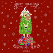 Christmas card with Christmas tree in the form of sheep and gifts — Stock Vector