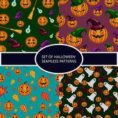Set of seamless patterns with pumpkin halloween — Stock Vector