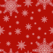 Seamless pattern with snowflakes on red background. drawing hands — Stockvektor