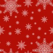 Seamless pattern with snowflakes on red background. drawing hands — Stockvector