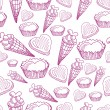 Seamless pattern with candy, ice cream and hearts — Stock Vector #63162433