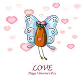 Cartolina di San Valentino con fly donna — Vettoriale Stock