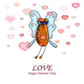 Valentine card with a fly male — Stock Vector