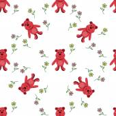 Seamless pattern with red bears — Stockvector