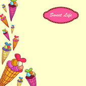 "A vector illustration with sweets and the text ""Sweet life"" — ストックベクタ"