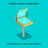 Installation of a solar wax refinery (spring work) — Stock vektor