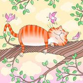 Cat sleeping on the tree — Stock Vector