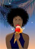 African girl with melting icecream — Stock Vector