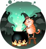 Funny cat сooking a potion in a cauldron — Stock Vector