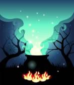 Boiling Halloween cauldron — Stock Vector