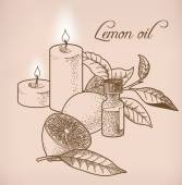 Lemon essential oil and candles — Stock Vector
