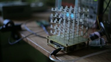 Cube of LEDs in the dark — Stock Video