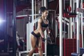 Fitness woman doing triceps exercises in the gym. Brunette fitness girl in black sport wear with perfect body in gym exercising — Stockfoto