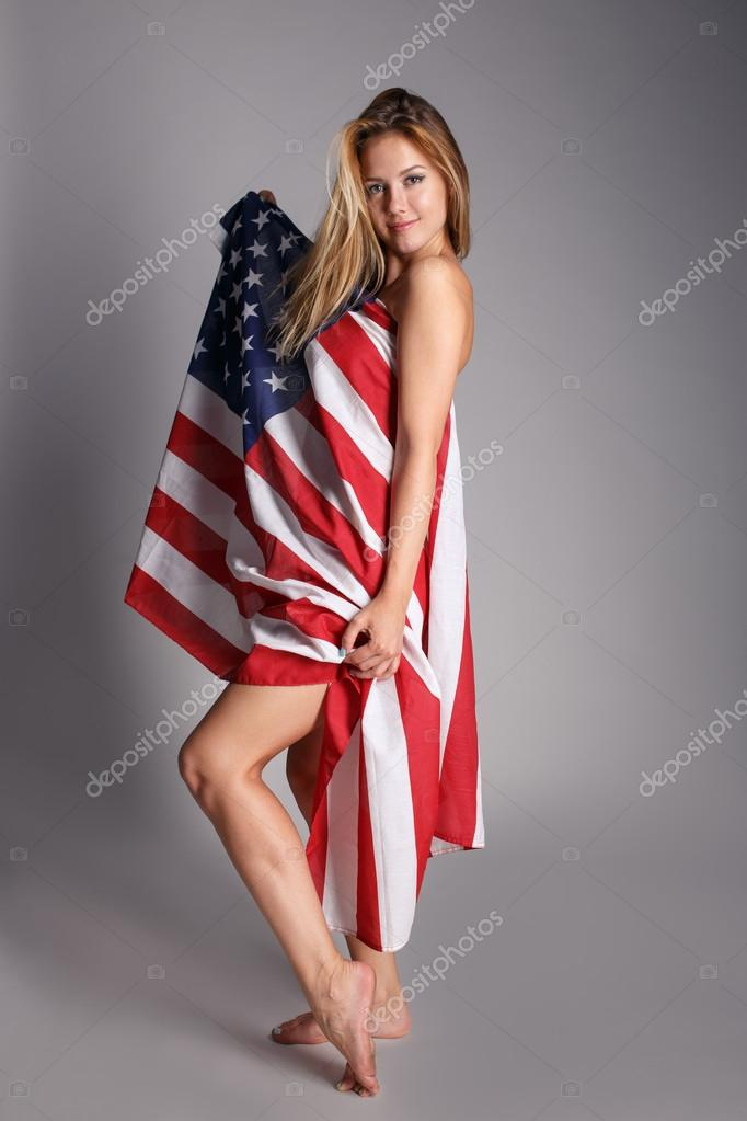 photos of girls jumping wrapped in american flag № 13406
