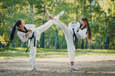 Gemini girl karate crossed their legs in the air outdoors — Stockfoto