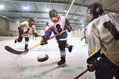Hockey player shoots the puck and attacks — Stock Photo