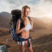 Hiker portrait. Female hiking woman happy and smiling during hike — Foto Stock
