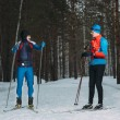 Two skiers cross-country ski talk in winter forest — Stock Photo #57589223