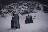 Medieval knights with sword in armor as style Game of Thrones go — Stock Photo