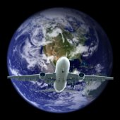 Airplane flying out the earth.Elements of this image furnished b — Stock Photo