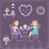 две девушки в кафе пить чай — Cтоковый вектор