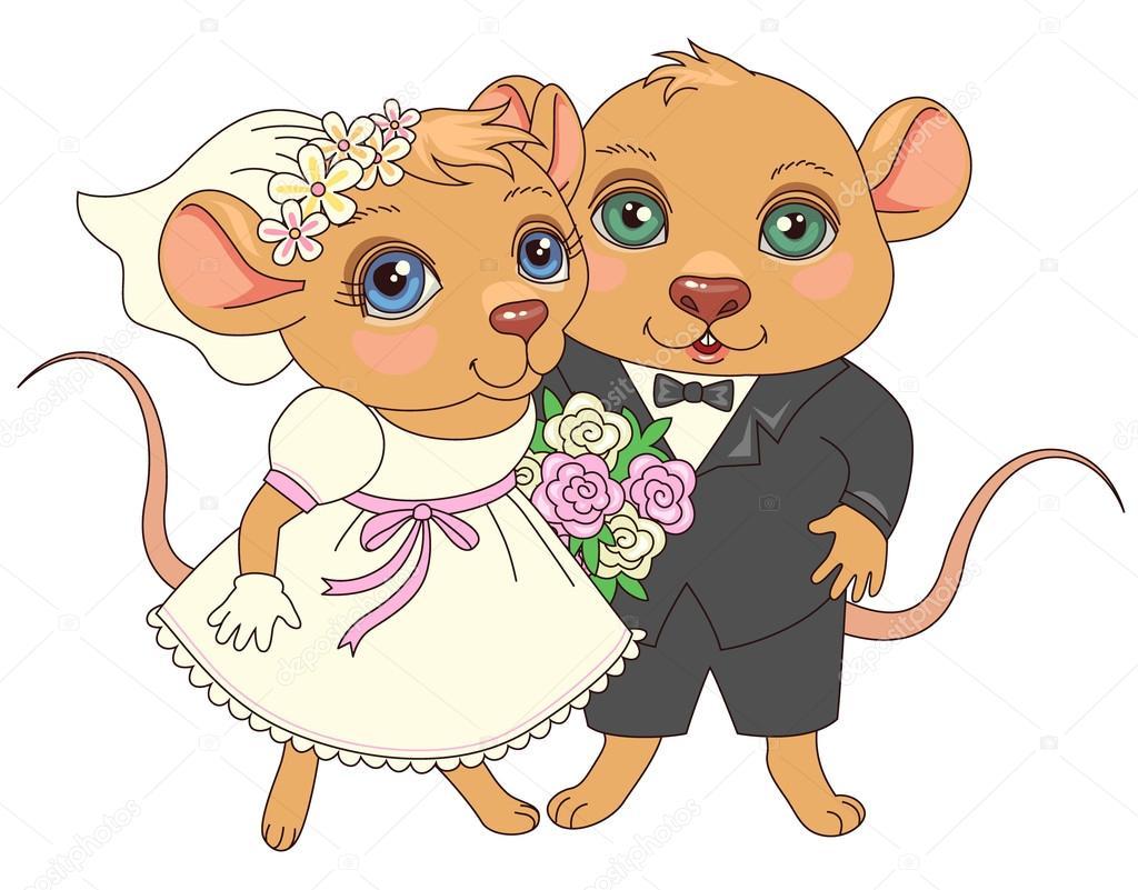Sposi dei cartoni animati — vettoriale stock