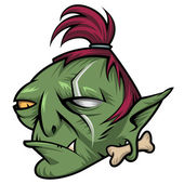 Head of angry green troll — Stock Vector