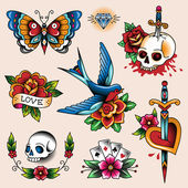Tattoo collection — Stockvector