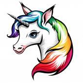 Head of cute white unicorn — ストックベクタ