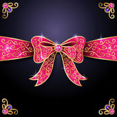 Pink decorative bow on blue — Stock Vector