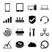 Computer repair service icons set monochrome — Stock Vector