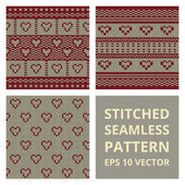 Fabric stitched background pattern with love heart — Stock Vector