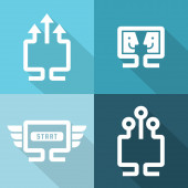 Computer and network connections icons set.Vector illustration.  — Stockvektor