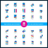 Print service icon set. Stationery, Gift and Corporate identity — Stock Vector