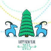 Happy new year 2015! Year of goat. Vector Illustration — Stok Vektör