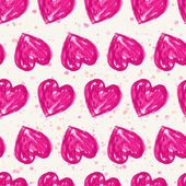 Romantic seamless pattern with watercolor hearts. Vector illustr — Vector de stock