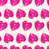 Romantic seamless pattern with watercolor hearts. Vector illustr — 图库矢量图片