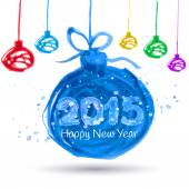 Happy New Year 2015, vector watercolor — Vetorial Stock