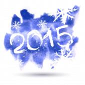 Happy New Year 2015, vector watercolor — Vector de stock