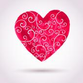 老式的水彩花边心,情人节矢量卡高建群 — 图库矢量图片