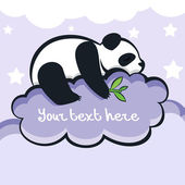 Panda bear sleeping on the cloud, vector illustration — Stock Vector