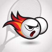 Flamante pelota de tenis con cara enfadada, ilustración vectorial de dibujos animados — Vector de stock